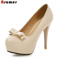 Asumer Fashion Sweet Thin High Heels Shoes Solid Shallow Platform Shoes Wedding Party Women Pumps Large