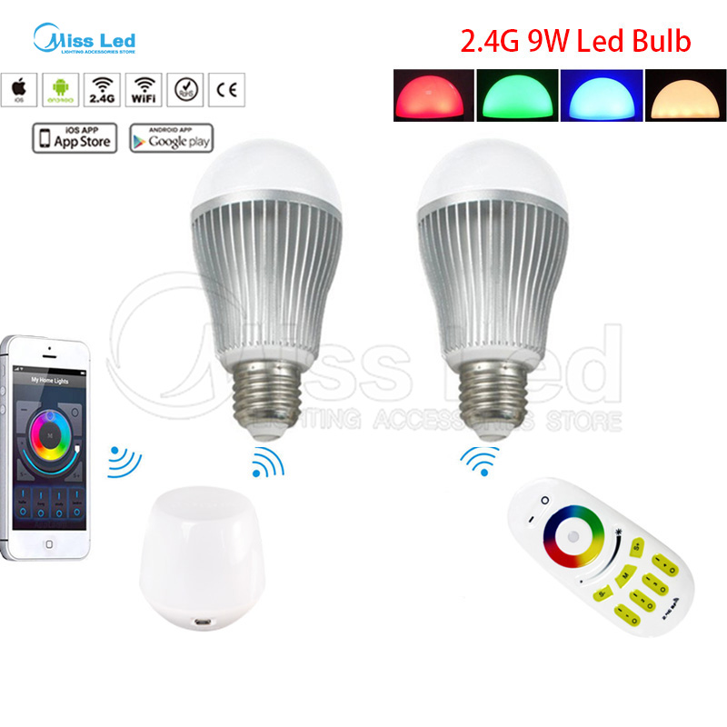 2.4G Wireless RF Remote + 2pcs 9W E27 RGB Warm/Cold White Wifi LED Bulb + Mi light Wifi controller via IOS Android phone app touch screen panel digitizer sensor glass lcd display matrix assembly for prestigio muze d3 psp3530 muze e3 psp3531 psp3531duo page 5
