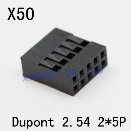 2x5pin 2.54mm Plastic Dupont Head Jumper Wire Cable Housing Female Pin Connector 1000pcs dupont connector housing female 2 54mm 1x2p