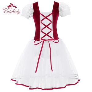 Image 2 - 新プロの女の子バレエチュチュドレスベルベットボディメッシュスカートショートパフ袖子供ダンス体操レオタード衣装