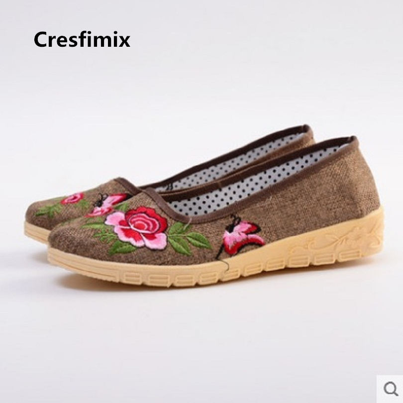Cresfimix women fashion floral print spring slip on flat shoes lady retro casual stylish dance shoes female cute flower shoes cresfimix women casual breathable soft shoes female cute spring