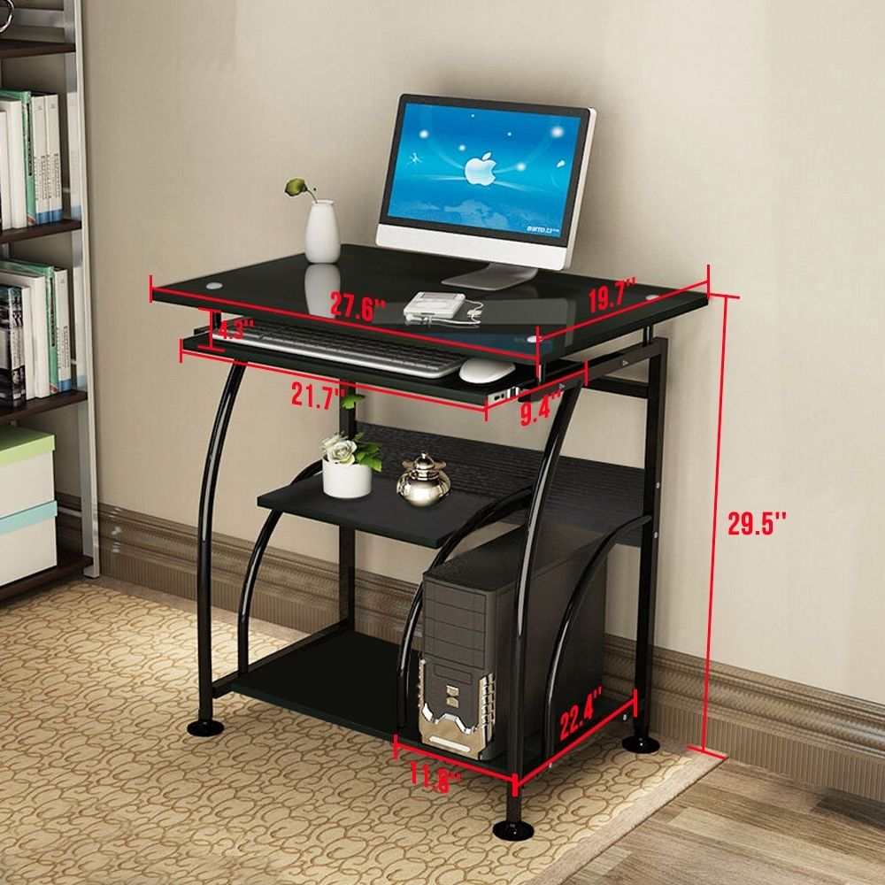 Computer Corner-Desk-Workstation Executive-Gaming-Table Office Black To Home Only-Ship