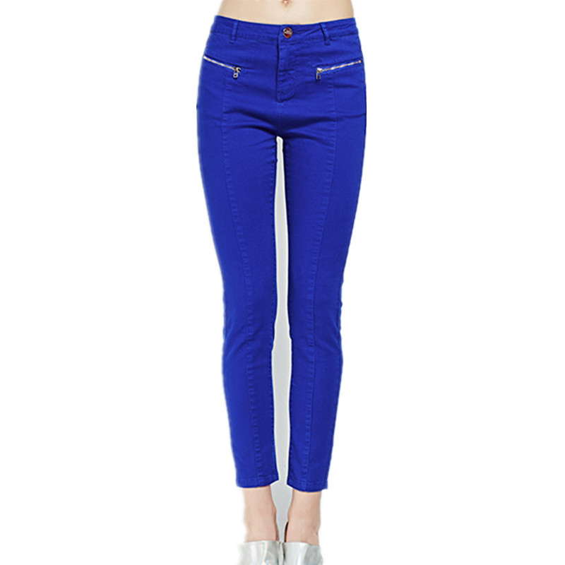 16 New France Russia England USA OL Cloth Spring Autumn Women Softener Pencil Pants Jeans Slim Pure Bright Modern Denim Trousers