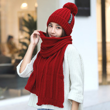 Winter Knitted Hat Big Ball Wool For Women Girls Scarf Skullies Beanie Caps Set Solid Hats