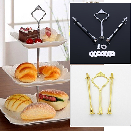 3 Layers Crown Cake Plate Stand Handle Fitting Wedding Party Kitchen Table Decor
