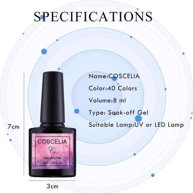 COSCELIA 8ML 40 Colors 01-40 Nail Polish Gel Long-lasting Soak-Off Gel Varnishes Semi Permanant UV LED Gel Nail Diamond Polishes