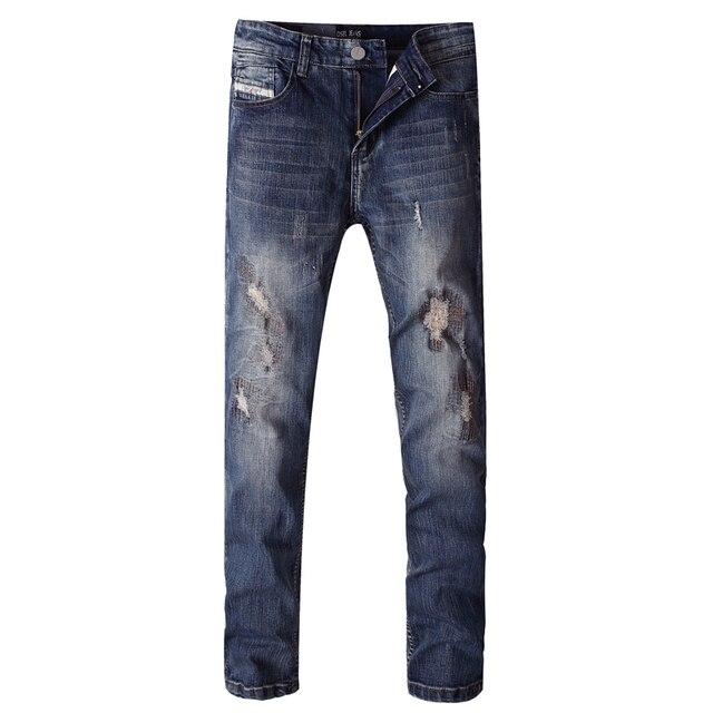 Dsel Brand Skinny Jeans Dark Blue Color Denim Stripe Stretch Ripped Men Slim Fit Casual