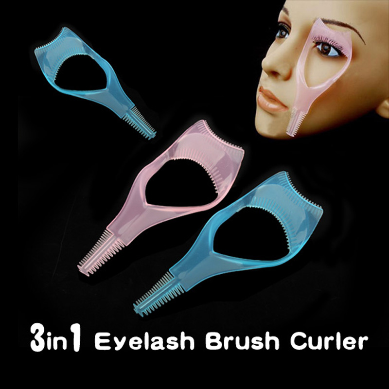 1 Piece 3 In 1 Mascara Eyelash Brush Curler Eyelash Comb Lashes Brow Grooming Multifunction Cosmetic Makeup Tool High Quality