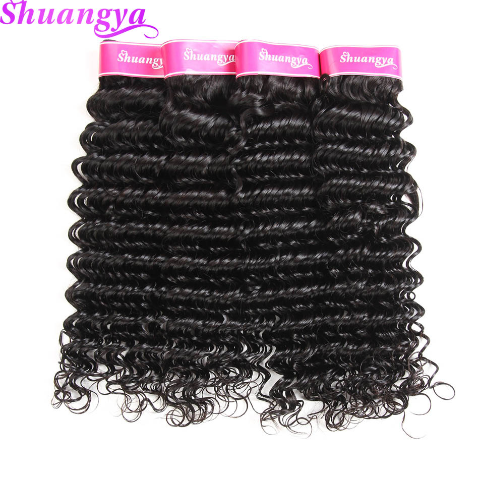Shuangya Remy Hair 4 Bundle Deep Wave Brazilian Hair Weave Bundles - Menneskehår (sort)