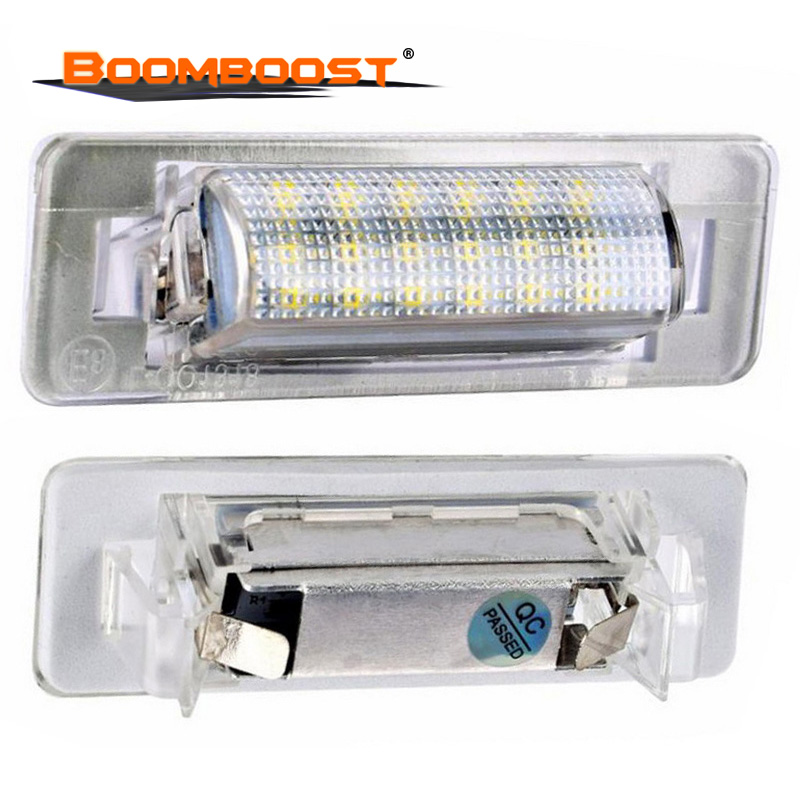 High Power Error Free 2 pcs for Mercedes Benz W210 4D Sedan <font><b>W202</b></font> 4D Sedan Facelif 18 SMD 3528 SMD <font><b>LED</b></font> License Plate Light Lamp image