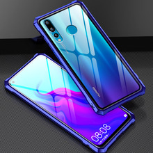 Tempered Glass Case for Huawei Nova 4 Nova4 Luxury Metal Bumpe Clear Back Cover
