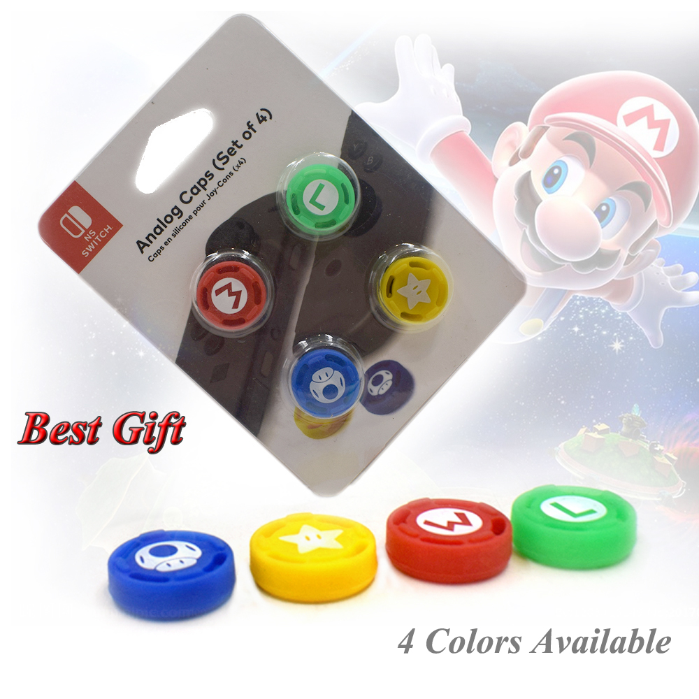 4 pcs Nintend Switch NS Accessories Joystick Caps Silicone Case Thumbstick Grips Cover for Nintendo Joy-con