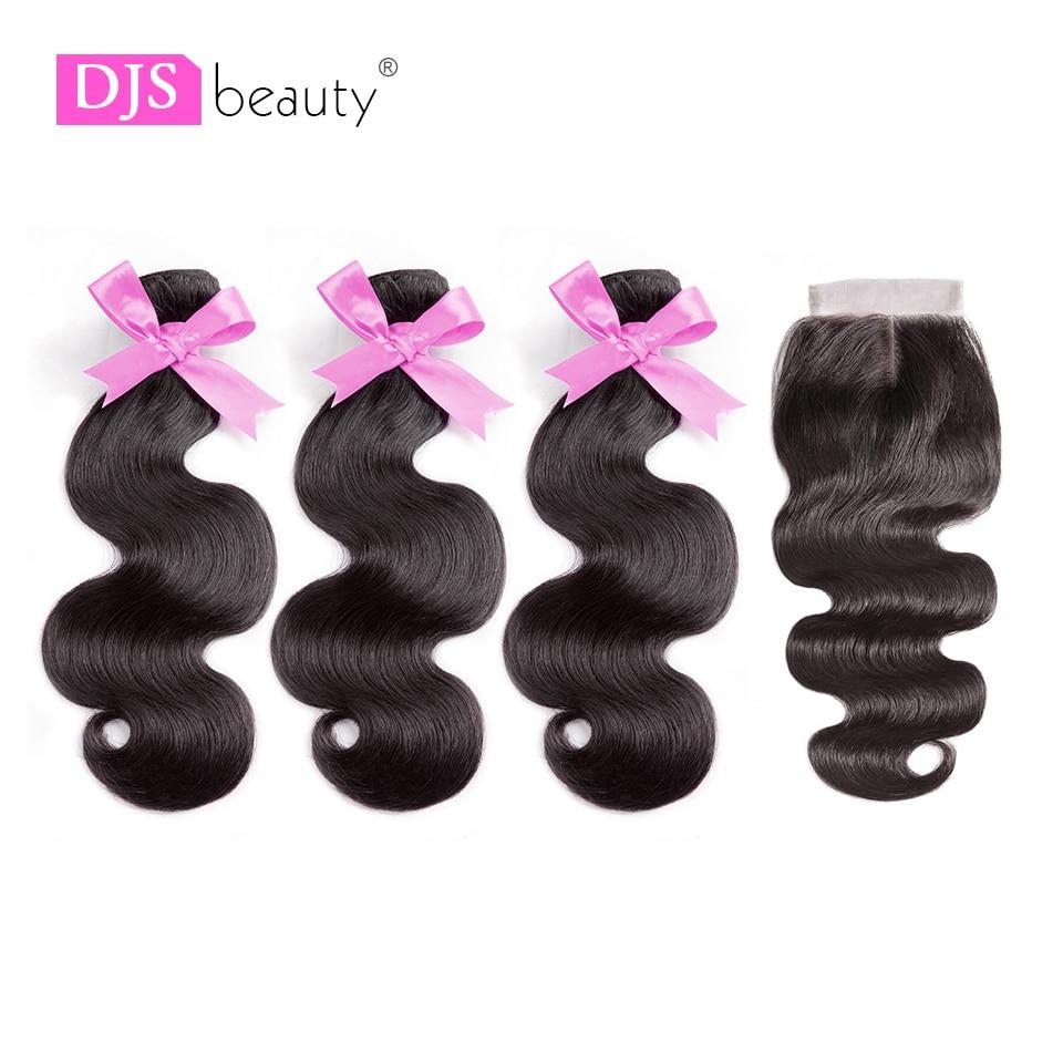 8a Indische Menschliches Haar Bundles Mit Verschluss Körper Welle Haar Extensions 4x4 Französisch Spitze Verschluss Djs SchÖnheit Haarverlängerung Und Perücken