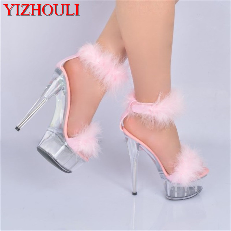 цены 6 inch Plus Size Crystal Ankle Strap 15CM Sexy Super High Heel shoes Platforms Pole Dance shoes white feather christmas sandals