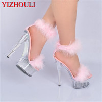 6 inch Plus Size Crystal Ankle Strap 15CM Sexy Super High Heel shoes Platforms Pole Dance shoes white feather christmas sandals
