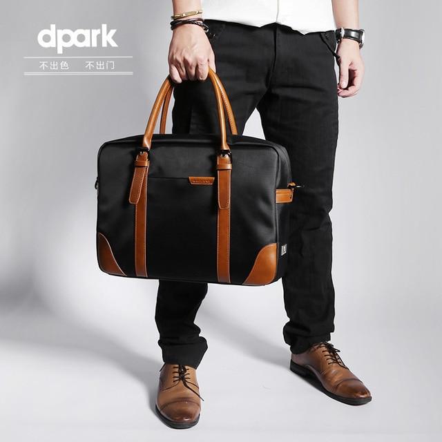 D-park Messenger Bags Waterproof Portable Laptop Briefcase Bag Men's Travel Shoulder Vintage 15.6 Inch Handbag For Macbook