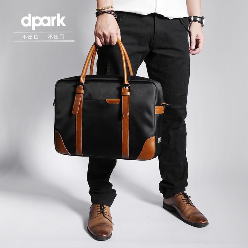 D park Messenger Bags Waterproof Portable Laptop Briefcase Bag Men's Travel Shoulder Vintage 15.6 Inch Handbag For Macbook