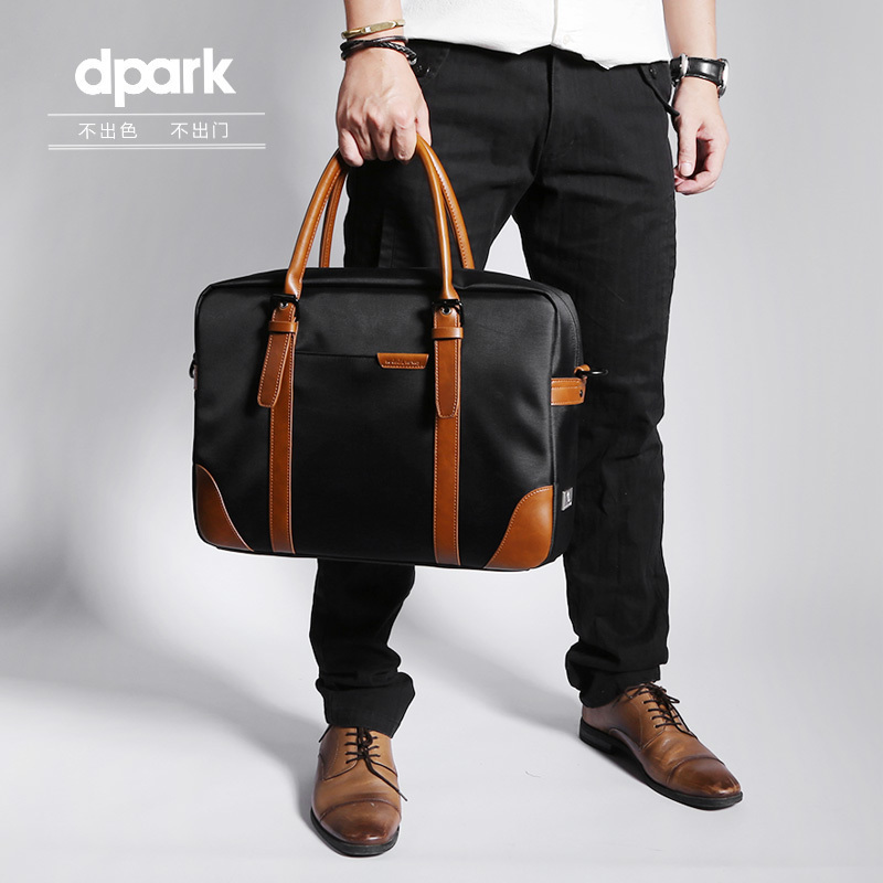 D-park Messenger Bags Waterproof Portable Laptop Briefcase Bag Men's Travel Shoulder Vintage 15.6 Inch Handbag For Macbook