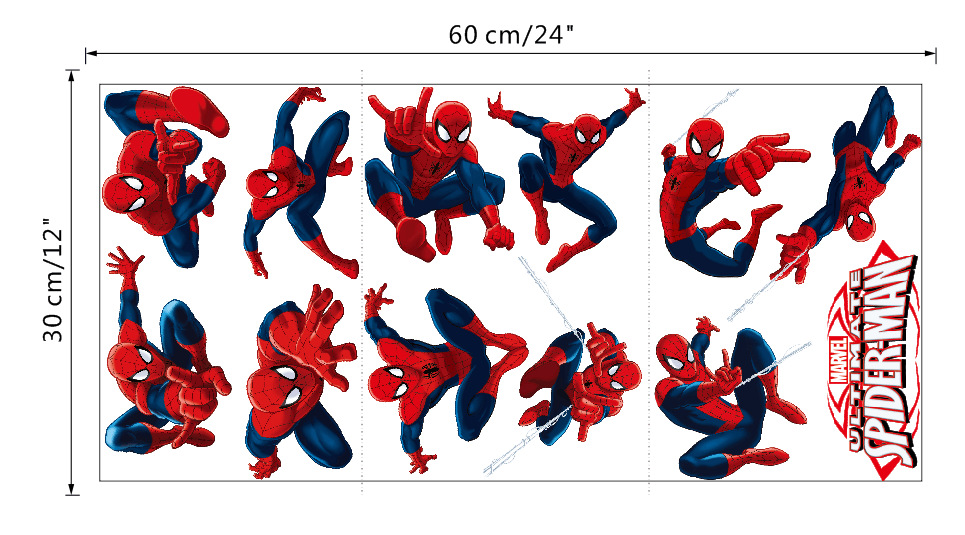 Sdm009 3d sticker cartoon spider man wall stickers boys room living room decals art pvc home decor nursery kids wall sticker in wall stickers from home