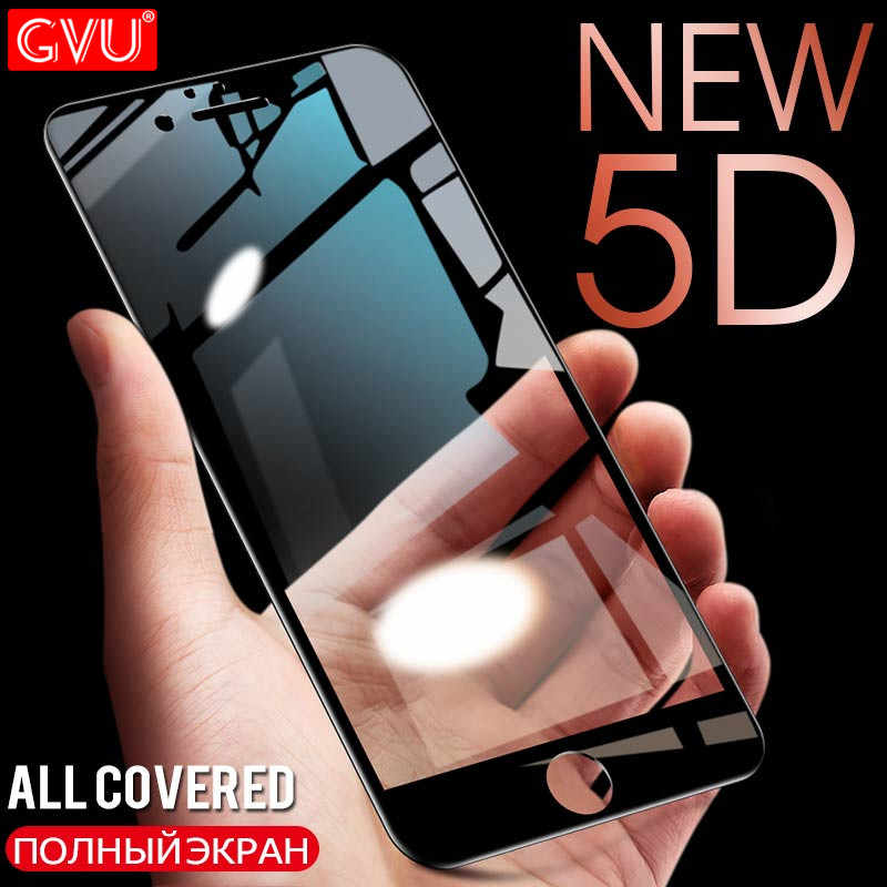 GVU 5D Full Cover Tempered Glass On The For iPhone 7 8 6 6s 5 5S SE Screen Protector For iPhone X 10 8 6 7 Plus Protective Glass