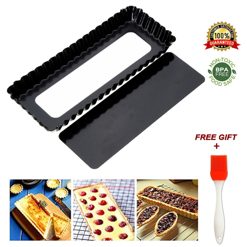 Fluted Pie Tart Pan Mold Rectangle Baking Nonstick Removable Bottom Quiche Tool Cake