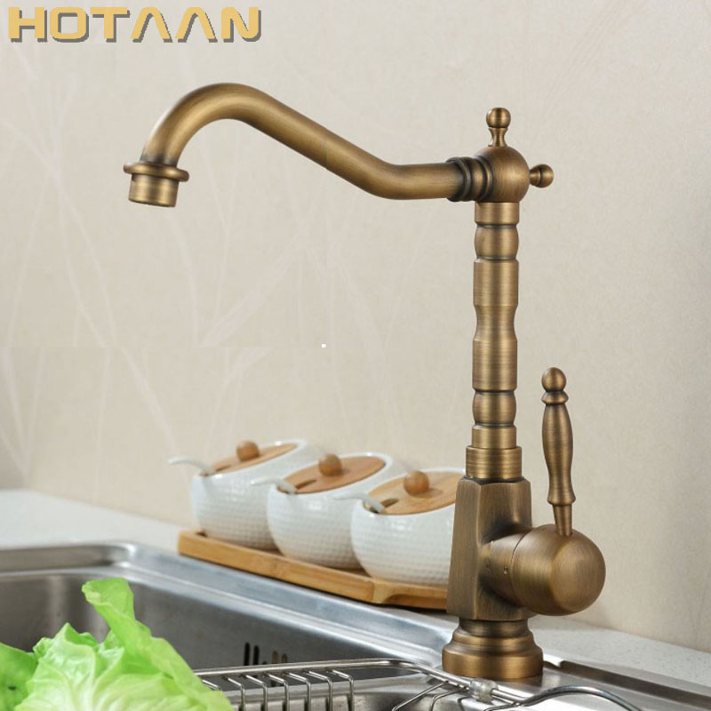 Free Shipping Kitchen Faucet Antique Brass Swivel Bathroom Basin Sink Mixer Tap Crane YT 6025