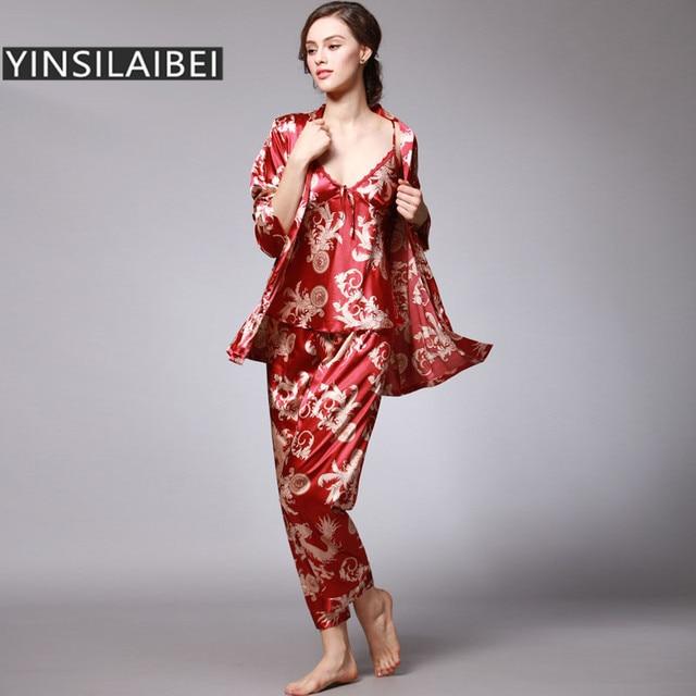 YINSILAIBEI Women Satin Sleepwear Female Silk Pajama Sets Ladies Pyjamas  Plus Size Dragon Print Women Home 28f00fcd1