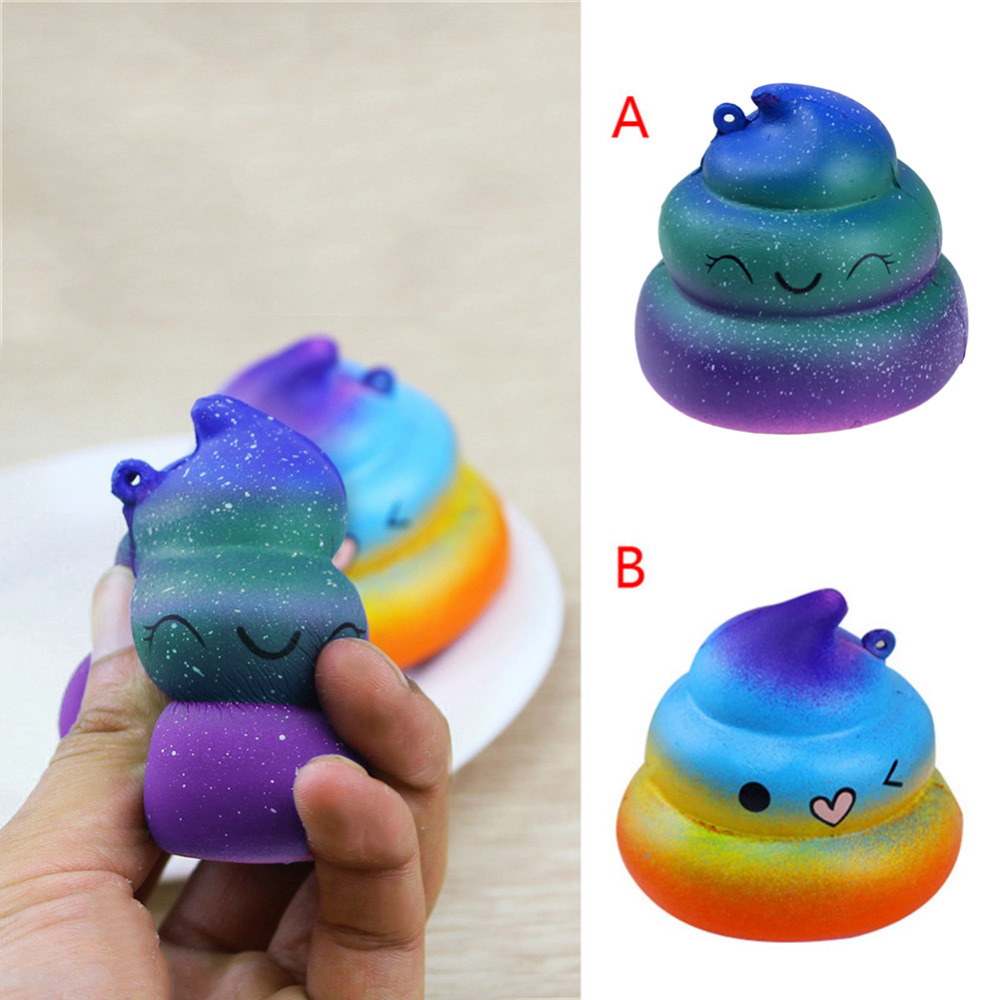 Rainbow Shining Crazy Poo Simulation PU Slow Rebound Toys Soft Scented Squishy POO Pressure Release Toys Kid Fun Toy