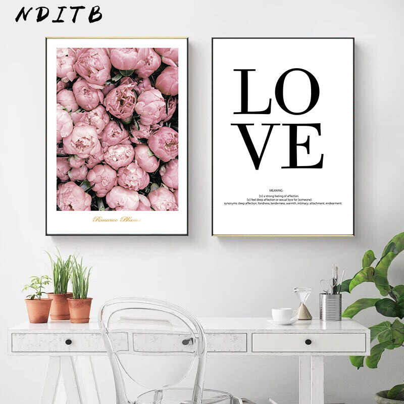 Scandinavian Flower Love Quotes Poster Print Wall Art Canvas Painting Decorative Picture Nordic Style Minimalist Home Decoration