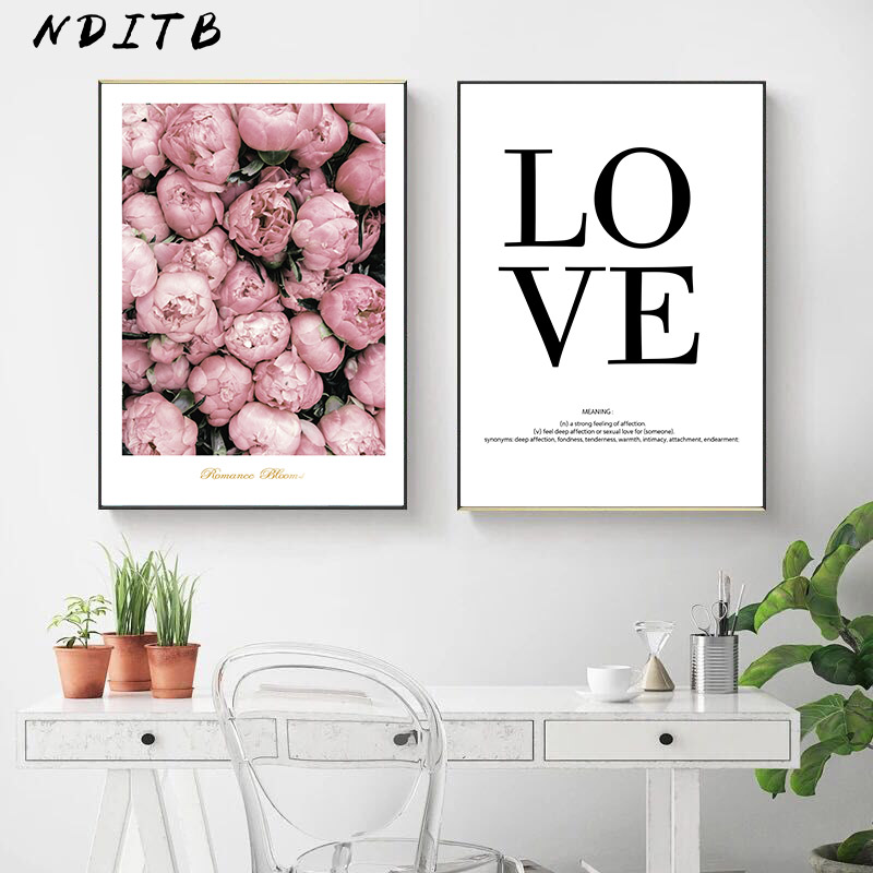 Scandinavian Flower Love Quotes Poster Print Wall Art Canvas Painting Decorative Picture Nordic Style Minimalist Home Decoration in Painting Calligraphy from Home Garden