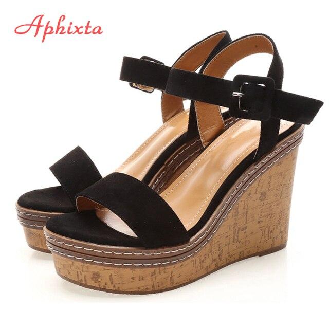 À Nouvelles Forme Pour Les Plate Sandales Bouche De Orteil Chaussures Aphixta 2018 Boucle Été Haut Grain Ligne Compensées Bois Femmes Semelles LpqSVjUzMG