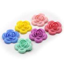 JOJOCHEW Гарячий продаж 40mm квітів силіконові бусинки зубчаста для ожерелья Харчування Оцінка 20Pcs Дитяча різдвяна подарунок 9 кольорів