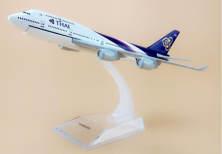 Alloy Metal Air Thai B747 Airlines Airplane Model Thailand Boeing 747 400 Airways Plane Model Aircraft Kids Gifts 16cm