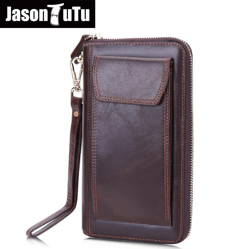 2017 New men genuine leather long wallet male clutch Luxury designer brand men wallets zipper coin purse phone Bags coffee HN232