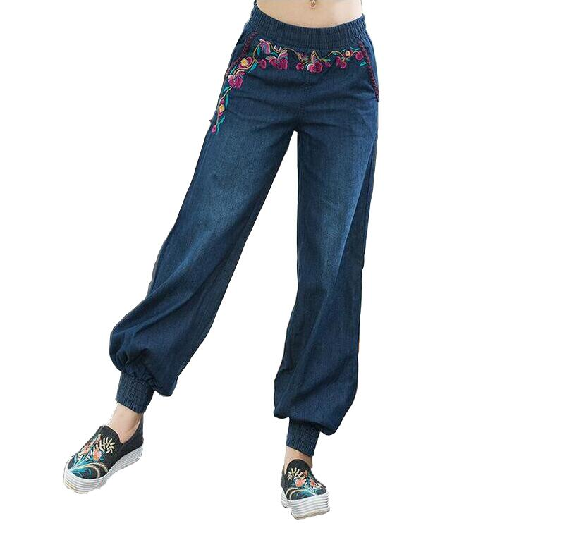 Retro Ethnic Embroidery Women Jeans Stretch Waist Loose Bloomers Casual denim Pants Trousers a350