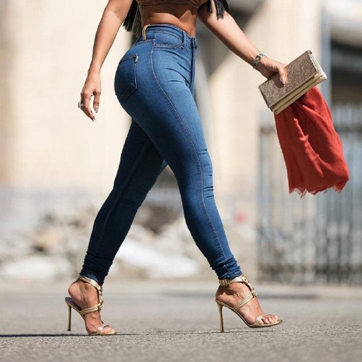2018 Autumn Slim Elasticity Skinny   Jeans   Women Europe High Waist Push Up Pencil Pants Mujer Casual Deep Blue Vintage Plaid Denim