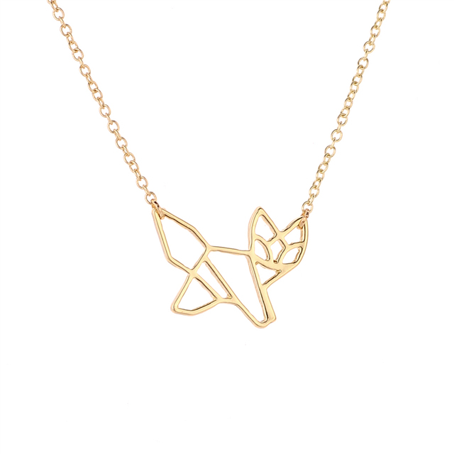 Newest fashion origami fox animal pendant necklace jewelry simple newest fashion origami fox animal pendant necklace jewelry simple design cute fox jewelry in gold silver aloadofball Image collections