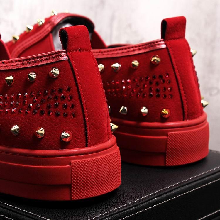 Rivets Charm Fashion Forward Men Casual Comfort Shoes Red Slip On Rhinestone Skull Charm Man Leisure Boast Shoes 38-43 13