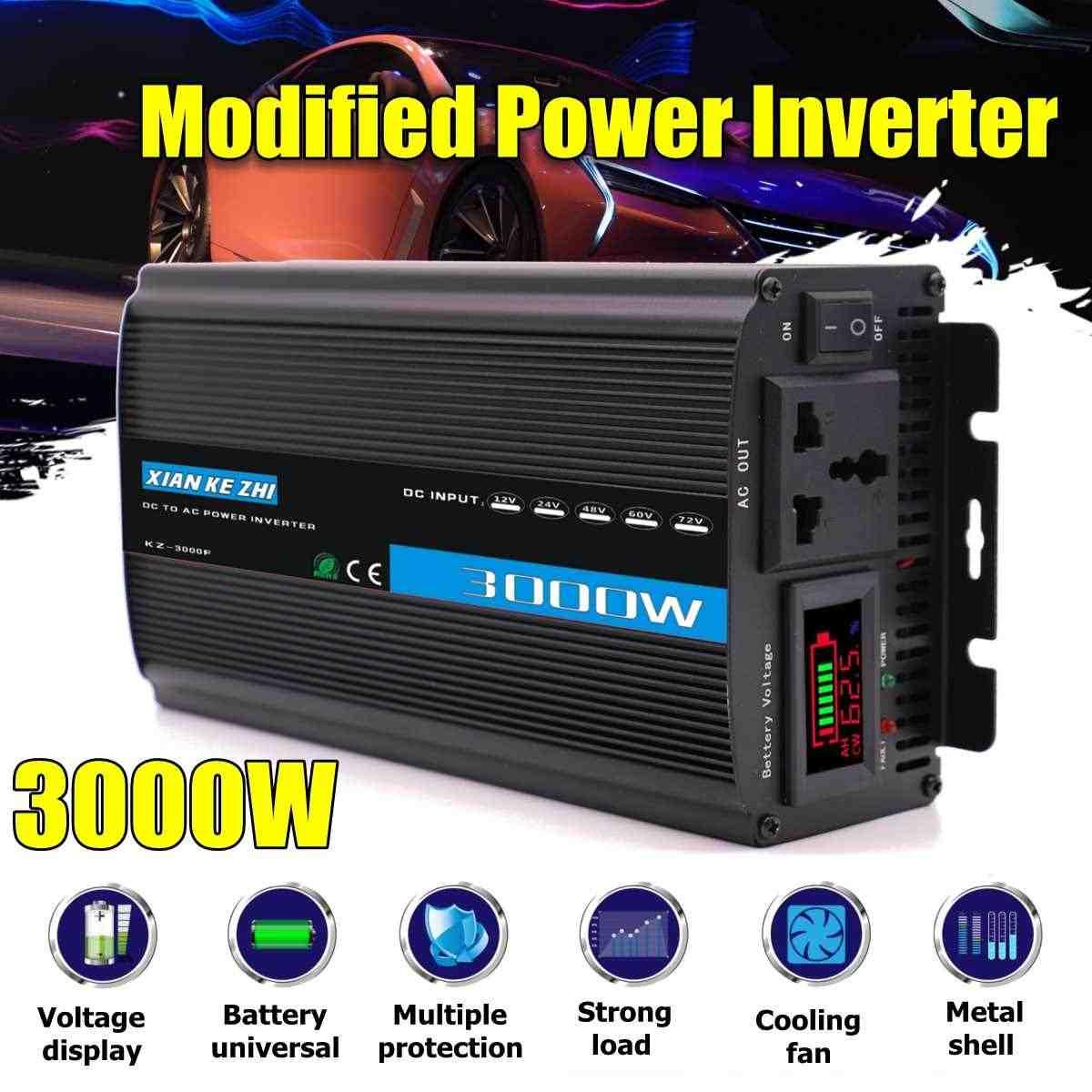 Inteligente 3000 W inversor de energía de onda sinusoidal modificada de 12/24/48/60/72 V a 220 V pantalla LED convertidor de potencia para