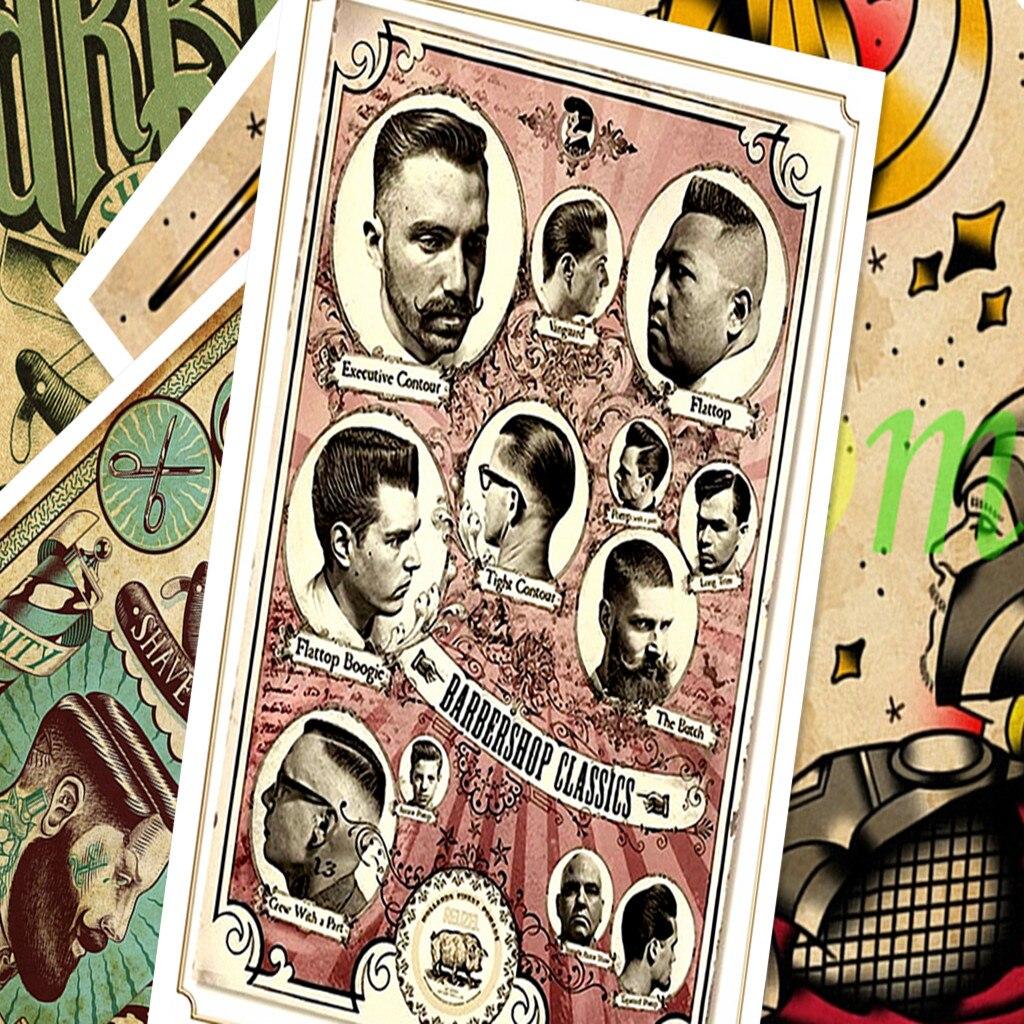 Nostalgic Retro Kraft Paper Poster Creative Hairdresser Tattoos HD Print Art Painting Wall Sticker Barber Shop Home Decor