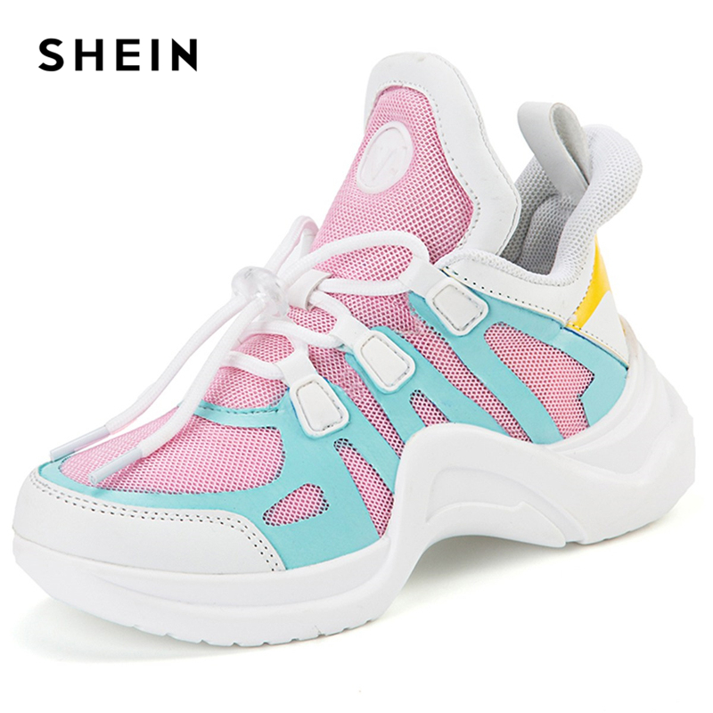 SHEIN Kiddie Almond Toe Rubber Colorblock Sneakers Casual Kids Shoes For Girls 2019 Style Active Wear Toddler Girl Shoes shiny gold pointed toe high heel basic pumps for women 2018 black court shoes sliver patent leather stiletto heels ladies shoes