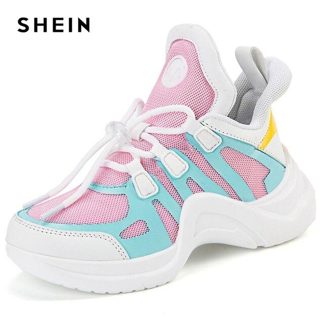 SHEIN Kiddie/резиновые цветные кроссовки с миндальным носком; повседневная детская обувь для девочек; коллекция 2019 года; стильная обувь для активного отдыха; обувь для маленьких девочек