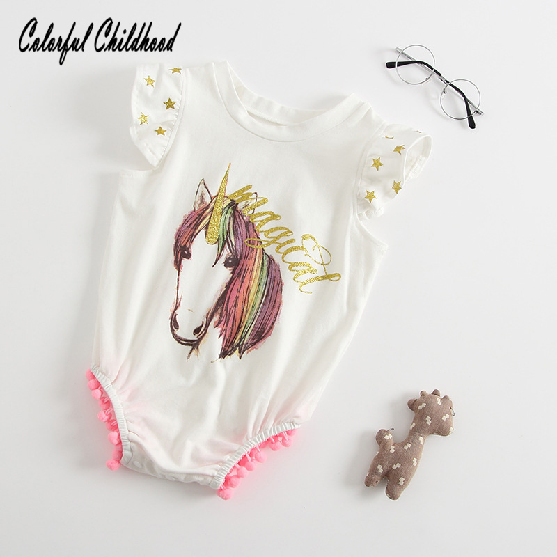 Hot sale Summer romper baby boy/girls unicorn printing jumpsuit cute tassel design infant kids overalls children pajamas