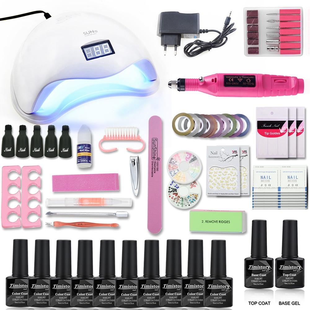 Manicure Set 48/40/6 Lampada UV Del Chiodo Set & 10 di Colore UV Del Gel Del Chiodo 1Top 1 strumenti di Base Set Unghie artistiche Kit per la Nail Manicure