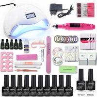 Manicure Set 48/40/6 UV Lamp Nail Set & 10 Color UV Gel Nail Polish 1Top 1 Base Tools Set Nail Art Kits for Manicure Nail