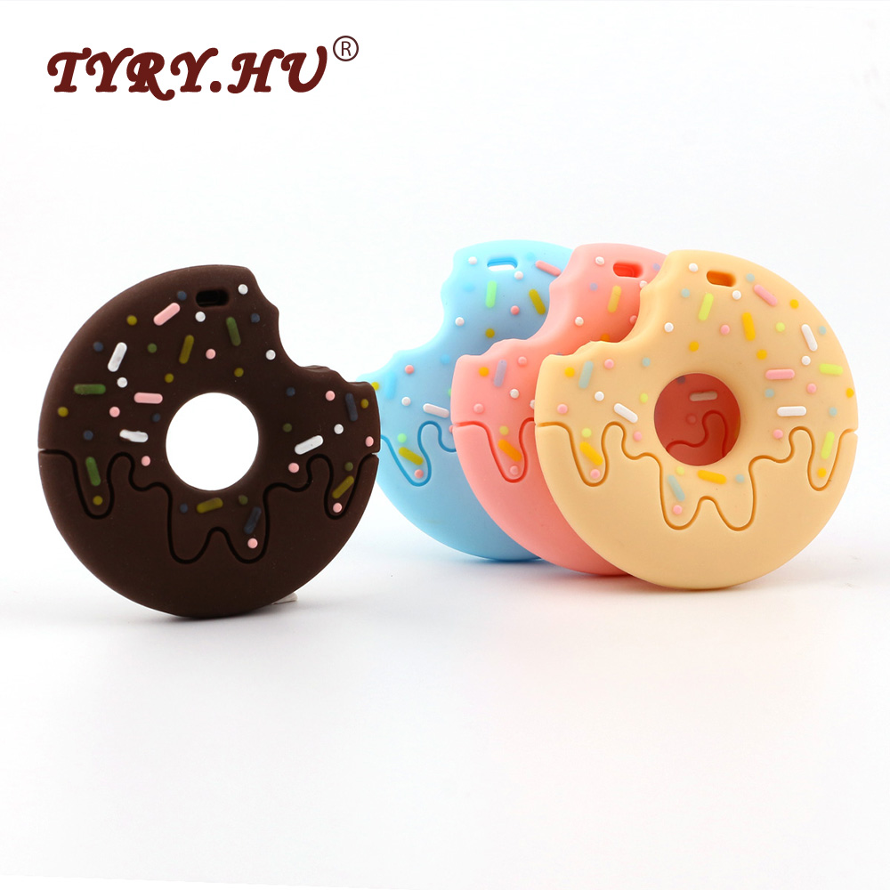 TYRY.HU 10Pcs Donuts Silicone Baby Teether BPA Free Baby Teething Toys Food Grade Silicone Chewed Teethers DIY Necklace Pendant