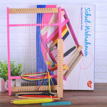 Wooden Weaving DIY lifting Tapestry Loom Knitting Machine Hand Craft Knit Wool Yarn Knitter Tool Parent-child exchange toy weaving loom dreams kids girl diy knitting wool machine woodlens penguin educational learn toys gift child playset hand crank