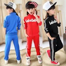 Fashion girl sports sets child spring and autumn girls twinset long sleeve zipper font b sweatshirt