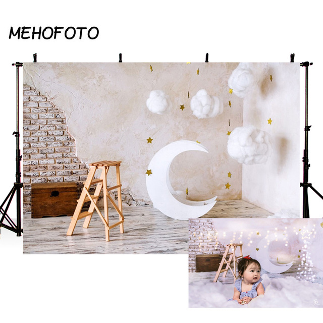 MEHOFOTO Brick Wall Moon Model Cotton Clouds Baby Photography Backgrounds Customized Photographic Backdrops For Photo Studio