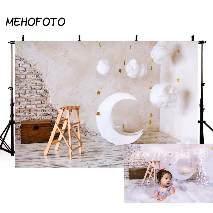 MEHOFOTO Ziegel Wand Mond Modell Baumwolle Wolken Baby Fotografie Hintergründe Angepasst Fotografische Hintergründe Für Foto Studio